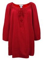 Crinkle Shirt Longshirt Shirt Tunika Top Rot Gr. 42 44 46 48 50 52 54 56 58 60