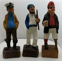 Vtg Lot of 3 Wood Carved Nautical Figures Captain Pirate Fisherman Hannah 12""