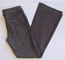 "Express Editor Dress Pants 0 Premiere Stretch Black White Pinstripe Flare 30"""