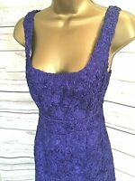 L.K. Bennett Purple Dress Wiggle Fitted Pencil Textured Lined - UK 8