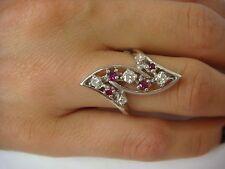 14K WHITE GOLD 0.75CT TW DIAMONDS AND RUBIES FREE STYLE LADIES RING 6 GRAMS