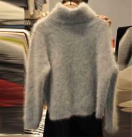 Women's Raglan Sleeve Mohair Turtleneck Sweater Pullover Loose Knit Top Zsell