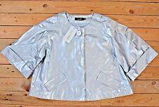 Vintage Vinyl Cropped Short Silver Classic Rain Mac Swing Coat Jacket Uk Size 16