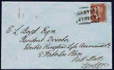 1405 CASTLE STREET SCOTS LOCAL CANCELLATION  1d STAR COVER 1857 TO LONDON GB UK