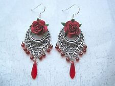 *BEAUTIFUL RED ROSE LATTICE* SP Gothic Earrings Gift Bag Tibetan Silver Beaded