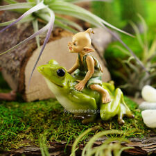Miniature Fairy Garden GARDEN PIXIE RIDING FROG (NEW)