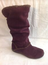 Footglove Purple Mid Calf Suede Boots Size 3.5