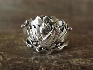 Navajo Indian Sterling Silver Eagle Ring Size 11 by Genevieve Francisco