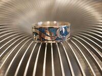 Toller 925 Silber Ring Blau Geschwungen Blätter Floral Modern Elegant Unisex