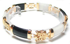 Black Agate White Jade 18KGP Blessing Fortune Longevity Clasp Bangle Bracelet
