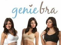 3-Pack Large Black White & Tan Classic Genie Bra & Pads As Seen On TV
