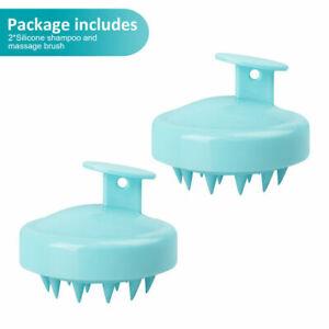2PCS Silicone Shampoo Scalp Shower Body Washing Hair Massage Massager Brush Comb