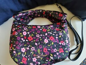 NEW KATE SPADE Black/Red/Pink Floral Pattern Hobo Huge Bow/Double Handles Bag