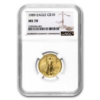 1989 1/4 oz Gold American Eagle MS-70 NGC - SKU #116176