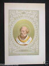 1879 SAN SERGIO I SERGIUS I ANTICA STAMPA CROMOLITOGRAFIA PAPA PAPI POPE D248 m