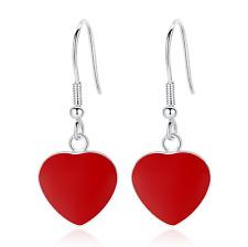 925 Sterling Silver Red Heart Hook Drop Stud Earrings Womens Girls Jewellery UK