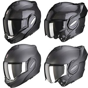 Scorpion Exo-Tech Carbon Solid Motorcycle Helmet Flip up System with Sun Visor