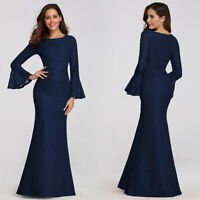 US Ever-Pretty Long Flare Sleeve Lace Mermaid Evening Party Dress Ball Prom Gown