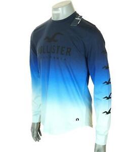 Neuf Homme Authentique Hollister Manches Longues Ombre T Shirt Logo Graphic M L
