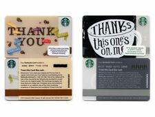 2 NEW NEVER USED 2012 - 2015 Thank You & Thanks This One's On Me Starbucks Cards