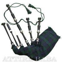Scottish Black Watch Tartan Rosewood Bagpipes Black Finish With Silver Mounts