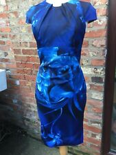 Karen Millen Satin Blue Black Floral Wiggle Pencil Cocktail Dress 12 Dry cleaned