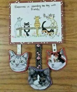 Friends Plaque,  Happiness, Valentines , Cats, Kittens, Handmade, Hand Painted