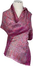 Pashmina Seidenschal Fuchsia Lila 100% Seide, silk  scarf soie écharpe foulard