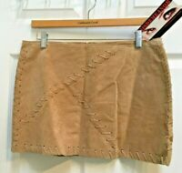 Misdemeanor Tan Leather Mini Skirt Junior Size 11 Thong Laced fully Lined