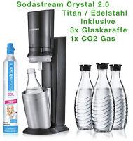 NEU SODASTREAM WASSERSPRUDLER CRYSTAL 2.0 CO2-ZYLINDER 3x GLASKARAFFE Promo