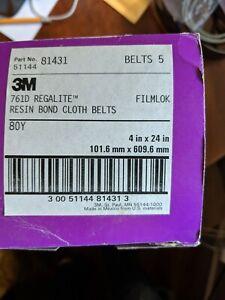 """(5 Pack) 3M Cloth 761D Belts 80Y 3"""" W x 24"""" L - 81412 Purple"""