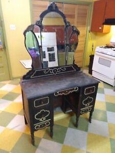 Vintage Makeup Dressing Table Desk Set with Mirror Drawer vanity ANTIQUE