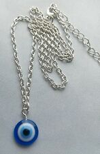 "A Metal Chain 20"" Blue Evil Eye Kabbalah Lucky Charm Pendant Necklace, Jewish"