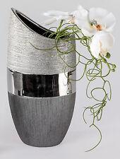 Moderne Deko Vase Blumenvase aus Keramik Luxor silber Höhe 20 cm