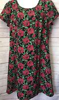 FOREVER 21 Plus 1X Black Pink Rose Print Romantic Below Knee Knit Dress NWOT