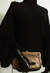 CHANEL Classic Quilted Bronze Lambskin Gold CC Kiss Lock Vintage Clutch Bag