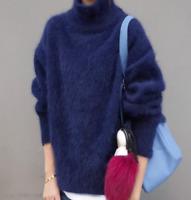 Women's Mohair Turtleneck Irregular Sweater Pullover Loose Outerwear Top Sbox4