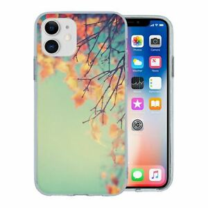 For Apple iPhone 11 Silicone Case Autumn Leaves Pattern - S3639