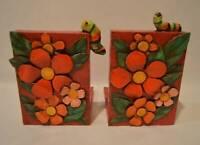 Vintage Artist Signed Bright MOD Flower Power Paper Mache Wood Bookeneds
