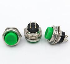 10pcs DS-212 16mm 3A 125V Switch Push Round Button No Lock Reset Green