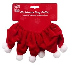 Christmas Small Medium Dog Santa Collar Outfit Xmas Costume Pom Pom Animal Suit