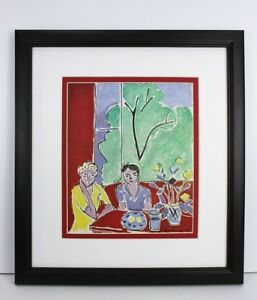 "1948 MATISSE Antique Print ""Two Girls at the Table, Yellow Flowers"" FRAMED COA"