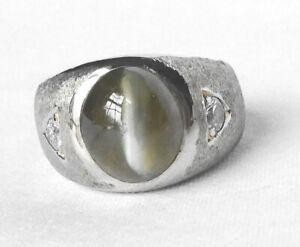 18k Gold Mens Unisex 7.45Ct Natural Cats Eye Chrysoberyl Diamond Pinky Ring 11g