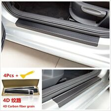 4xUniversal Car Door Sill Scuff Welcome Pedal Protect Carbon Fiber Grain Sticker