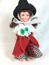 Vintage Jointed Welsh Outfit Celtic Plastic Girl Doll - Blinking Eyes