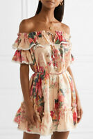 ZIMMERMANN Laelia Off-The-Shoulder Floral Mini Dress US Size 6-8 Orig. $404 NWT