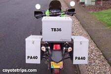 Motorcycle Aluminum Pannier, 40 liters, Lift Off Lid; BMW GS, KLR, Tiger, Tenere