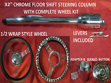 "32"" STREET/HOT ROD CHROME TILT STEERING COLUMN FLOOR SHIFT WITH WHEEL KIT"