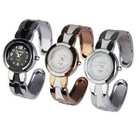 Women's Fashion Crystal Round Quartz Analog Wrist Watch Cuff Bangle Bracelet
