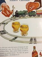 1939 Vintage Toy Train Set Father's Christmas Johnnie Walker Whisky Print Ad